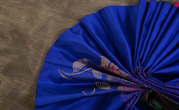 Royal Blue Pure Kanchipuram Handloom Silk Saree