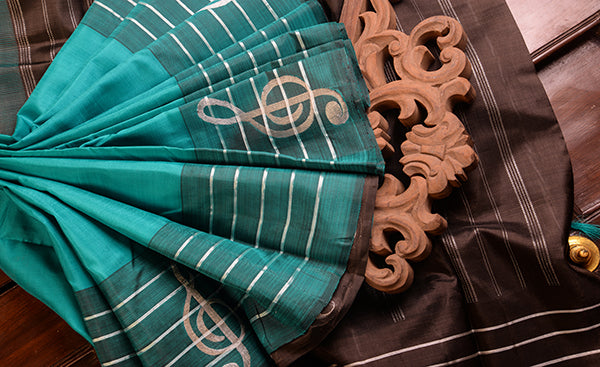 Deep Turquoise Blue Pure Kanchipuram Handloom Silk Saree