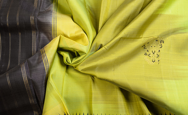 Dull Yellow Pure Kanchipuram Handloom Silk Saree
