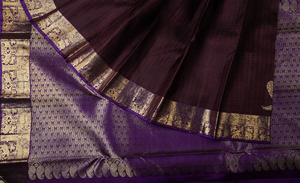 Brown Pure Kanchipuram Handloom Silk Saree
