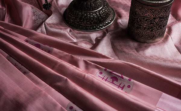 Rose pink kanchipuram silk saree with