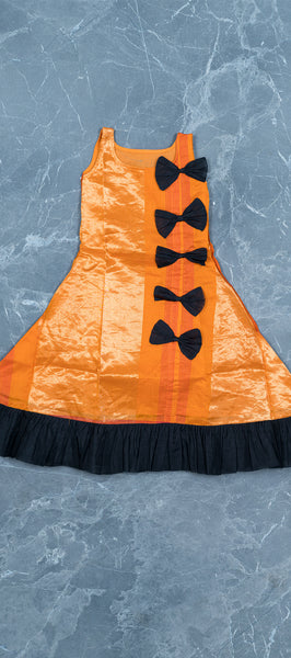 Orange Silk Cotton Kids Gown