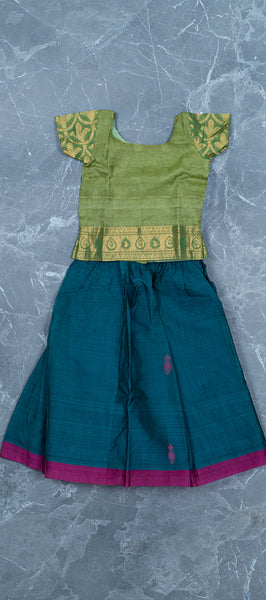 Green Silk Cotton Kids Paavdai