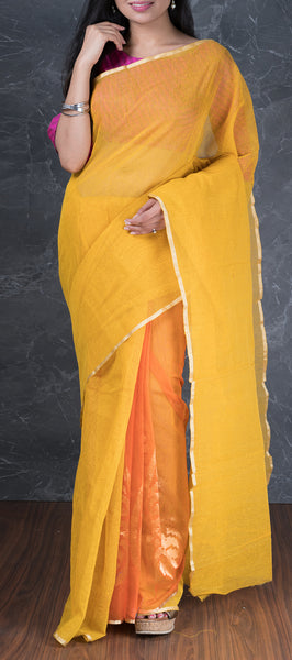 Marigold Yellow Jute Cotton Saree