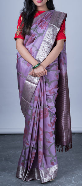 Purple Softsilk Saree with Pochampalli Patterns