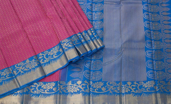 Magenta and Blue Pure Kanchipuram Handloom Silk Saree With Pure Zari