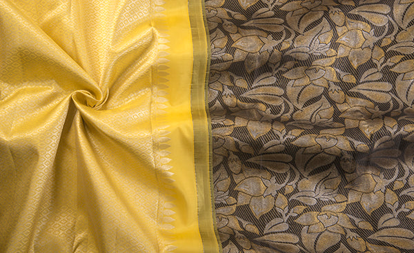 Yellow & Black Pure Kanchipuram Handloom Silk Saree