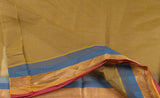 Taupe Ethnic Cotton Saree With Striped Border