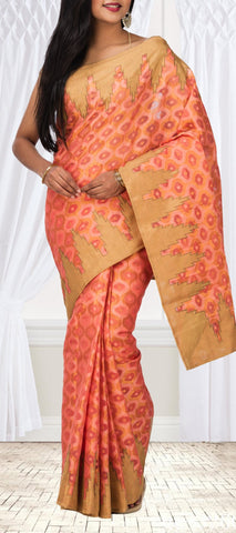 Peach Silk Cotton Saree