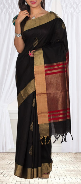Black & Red Pure Jute Silk Saree