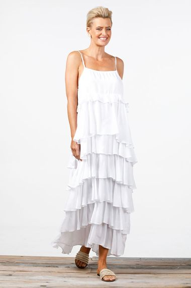PARADISE RUFFLE DRESS WHITE