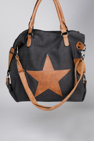 STAR CANVAS BAG - BLACK