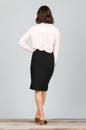 BEVERLY SKIRT - BLACK FAUX LEATHER