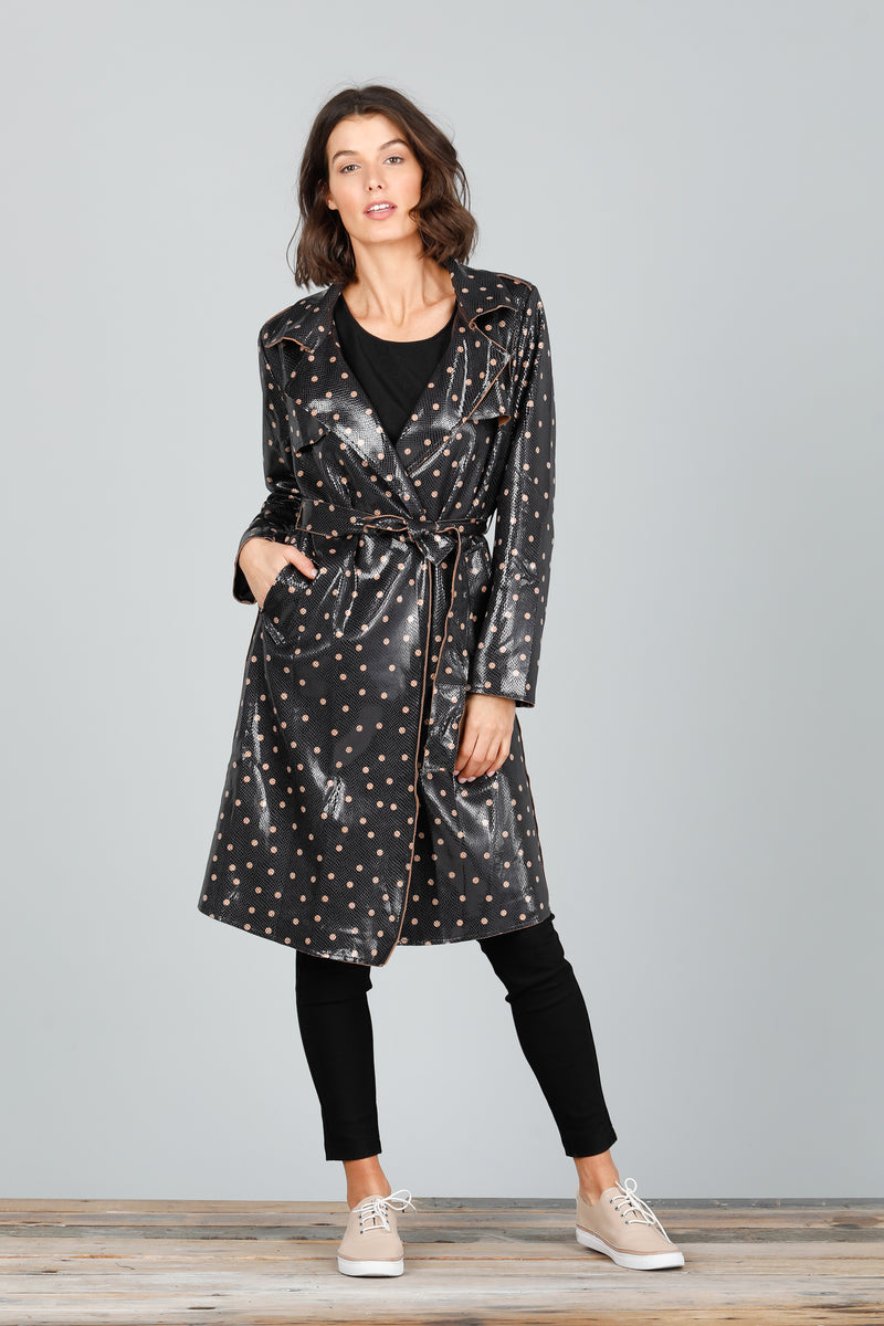 SAFARI TRENCH COAT - BLACK w. SMALL TAN DOT