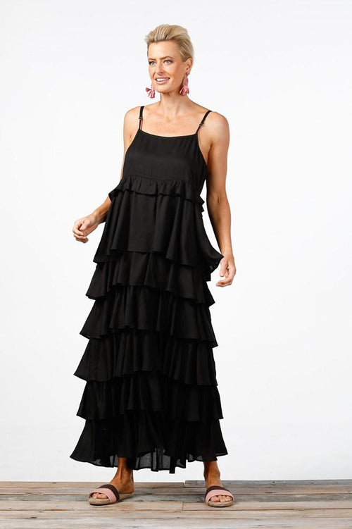 PARADISE RUFFLE DRESS BLACK