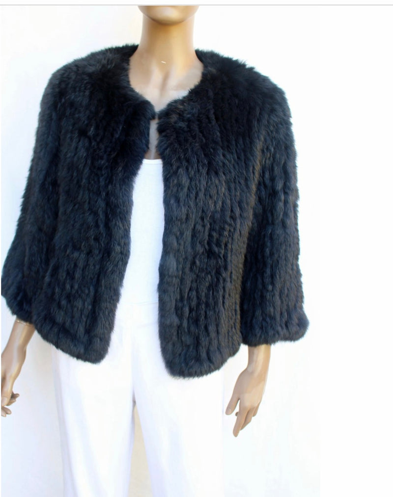 Channel Fur Jacket - Navy