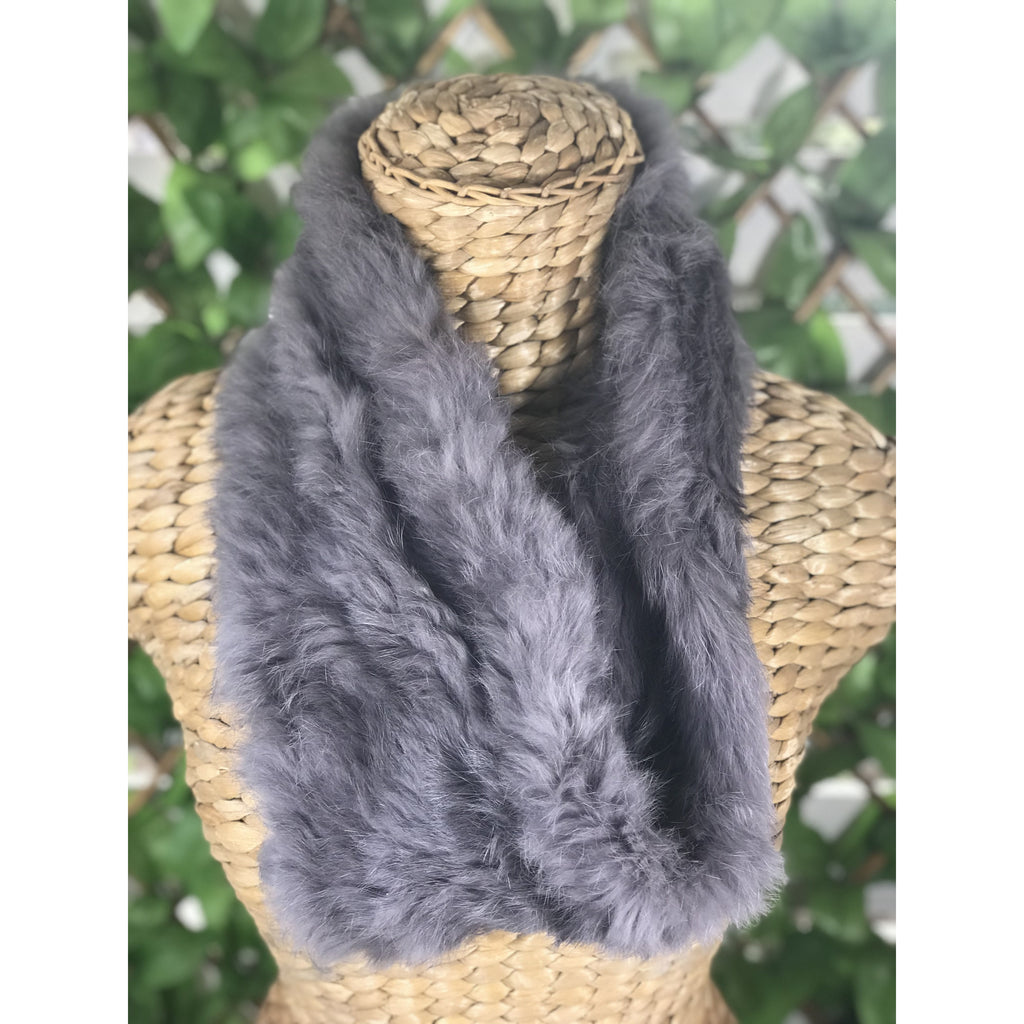 Infinity Fur Scarf - Charcoal