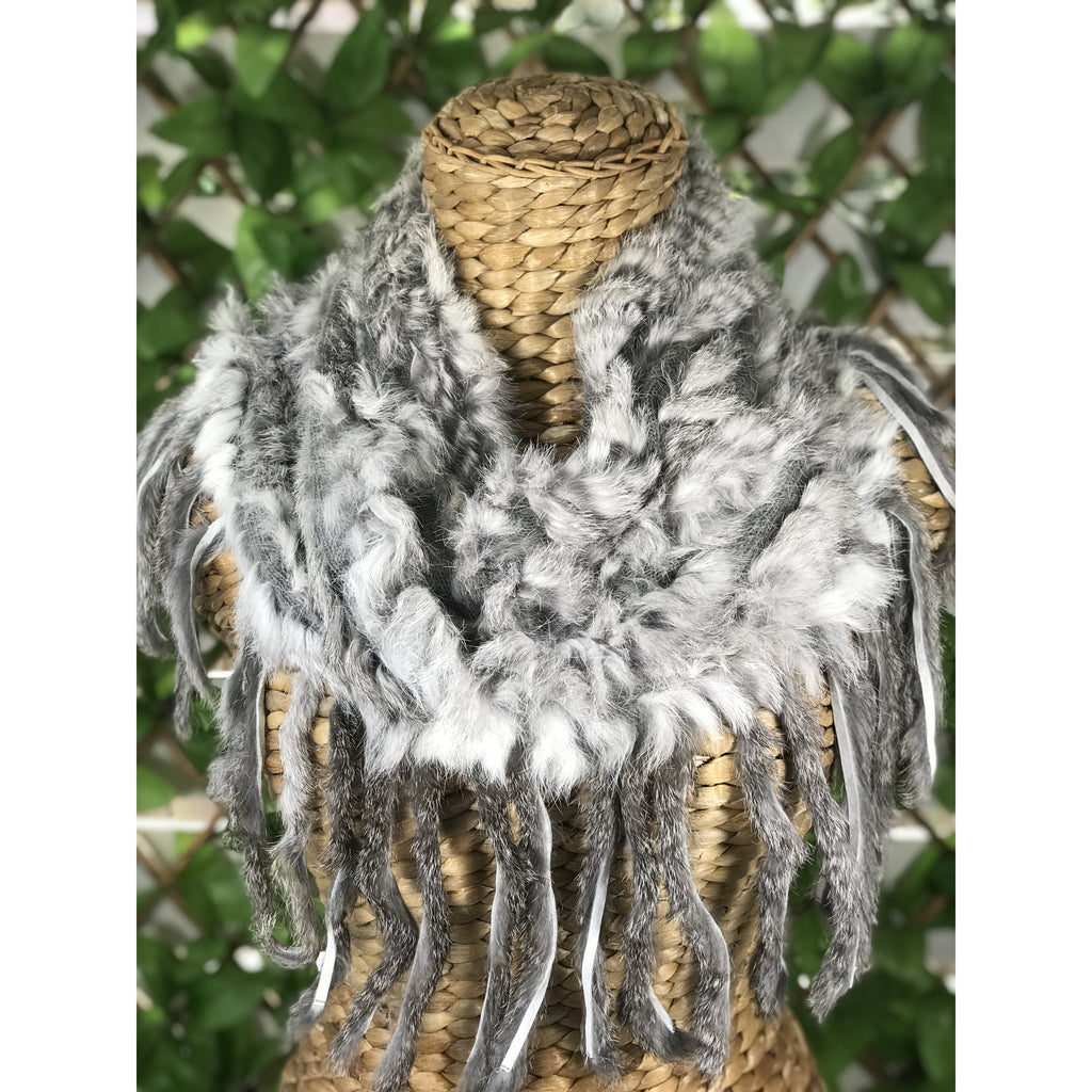 Fur Fringe Scarf - Natural Grey