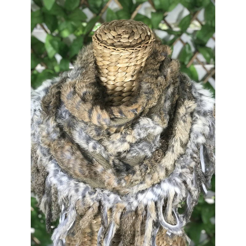 Fur Fringe Scarf - Natural Tan