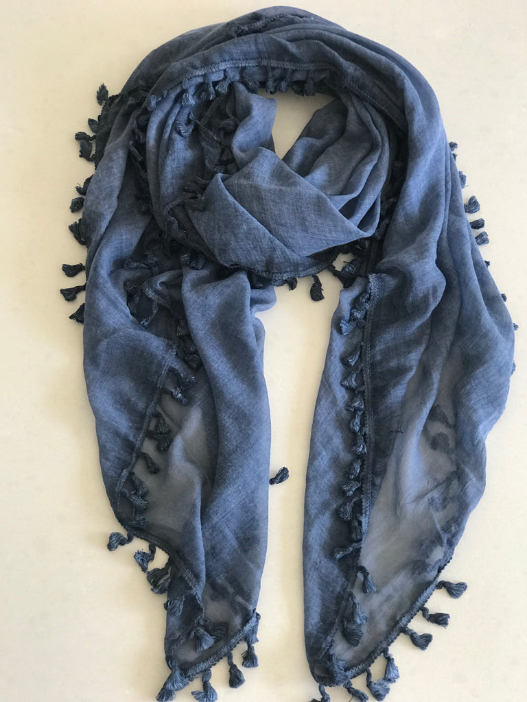 Tassle Scarf - Denim Blue