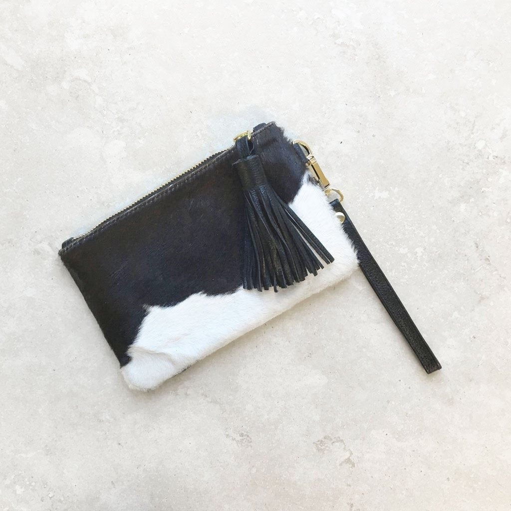 MINI MASAI MARA CLUTCH IN BLACK & WHITE COWHIDE
