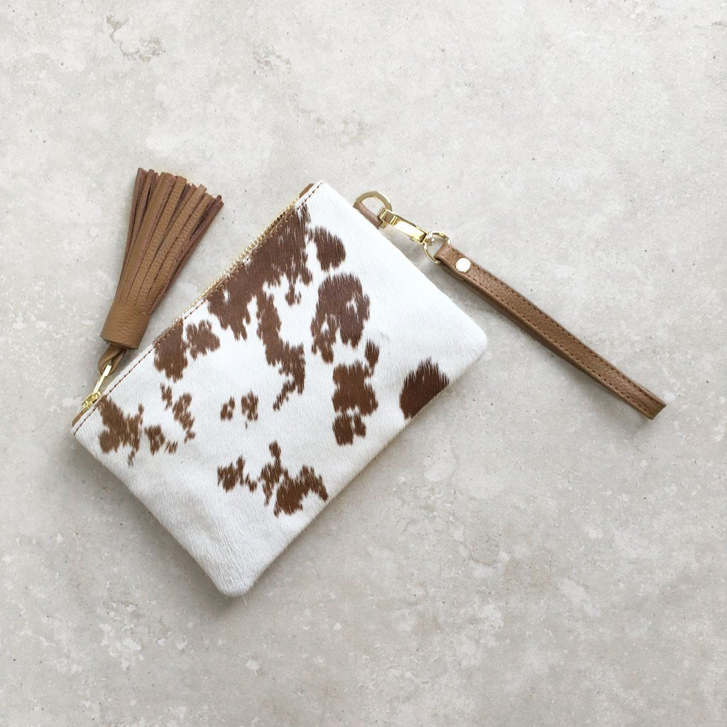 MINI MASAI MARA CLUTCH IN TAN COWHIDE