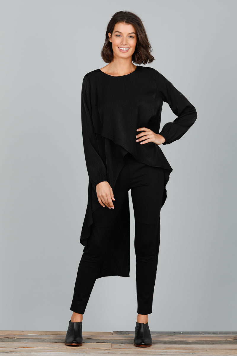 TORI LONG SLEEVE TOP - BLACK