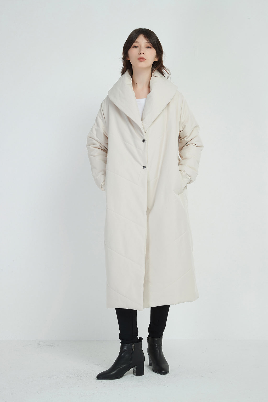 PADDED LONG COAT - STONE