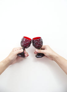 Ruby Decanter and Stemglasses