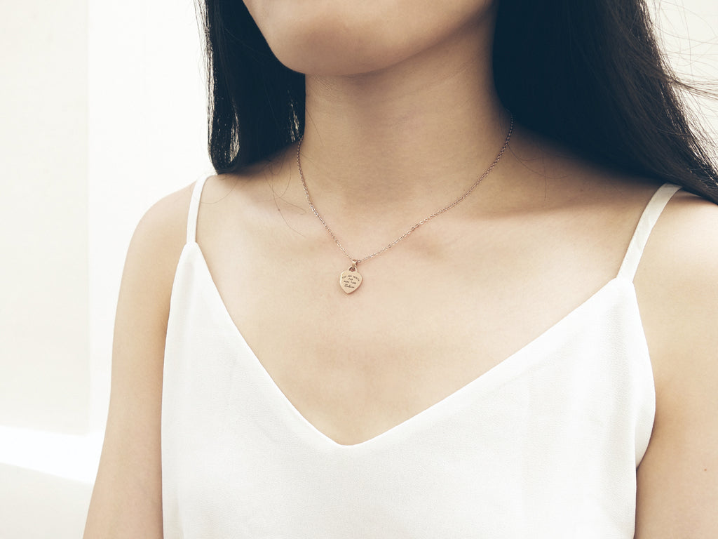 J & Co Foundry Heart Pedant Necklace in Rose Gold