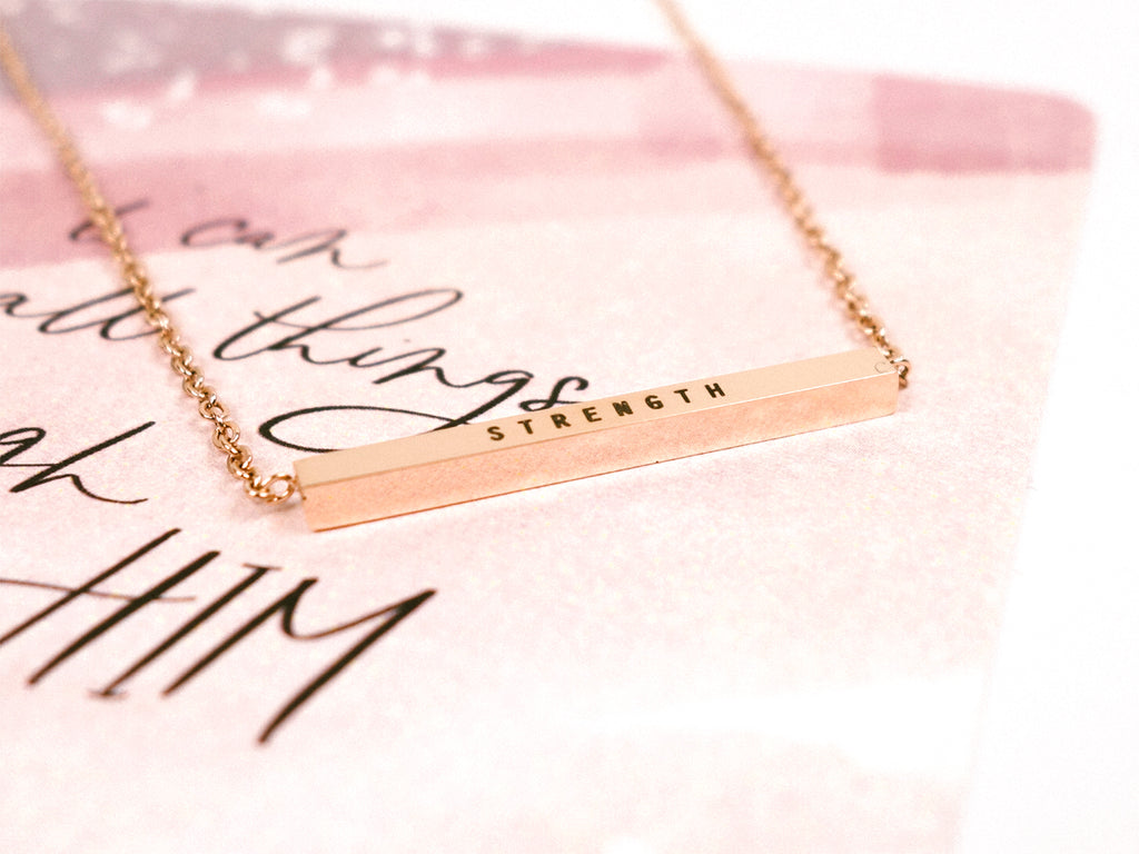 I Can Do All Things with Him who gives me Strength Customised Bar Necklace in rose gold