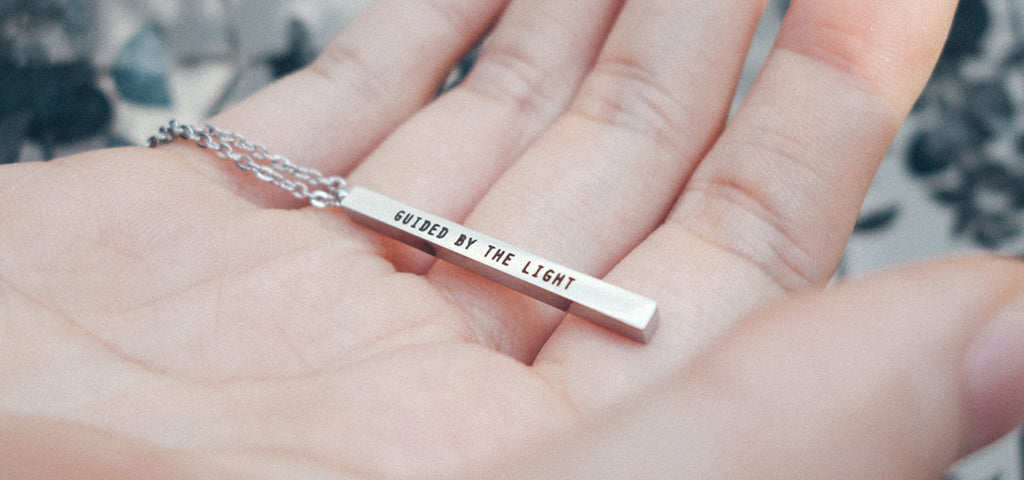 Guided By The Light Customised Vertical Bar Necklace in Silver