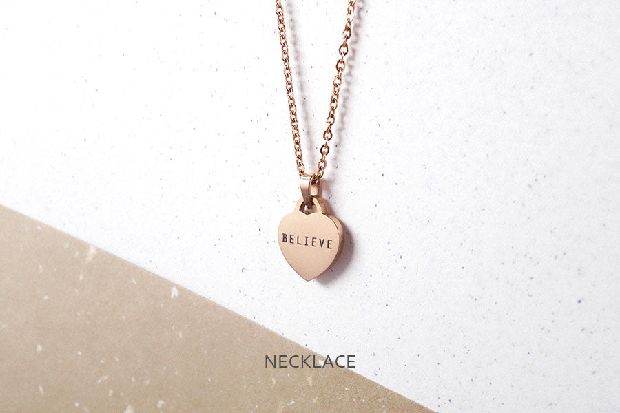 Believe heart shaped pendant rose gold engraved necklace from Singapore