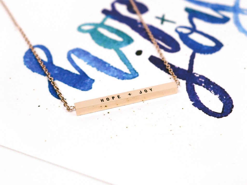 J & Co Foundry Collaboration with Amy @art.by.ames Hope + Joy Customised Bar Necklace in Rose Gold