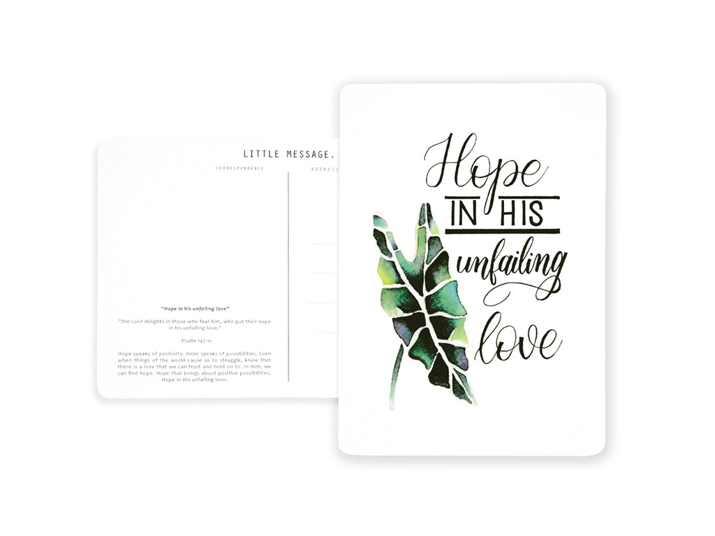 J & Co Foundry Photo Postcard Calligraphy and Block Typography Lettering with Watercolour fern leaves Artwork