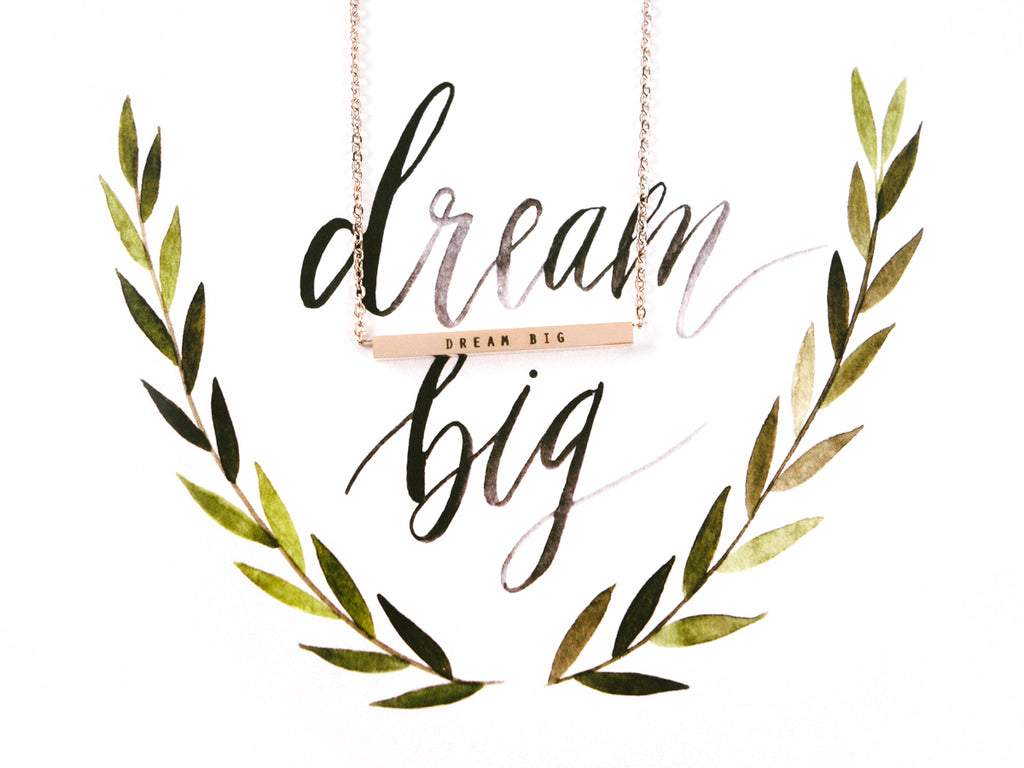 Dream Big Customised Bar Pendant Necklace in Rose Gold