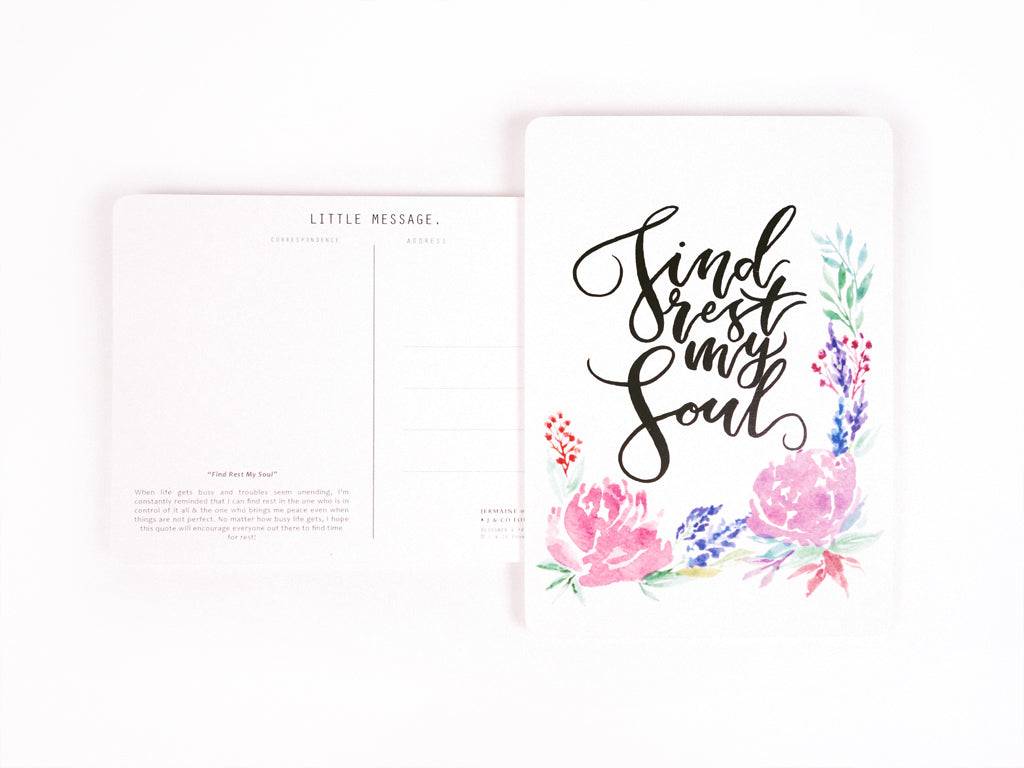 Calligraphy Postcard with Floral Watercolour