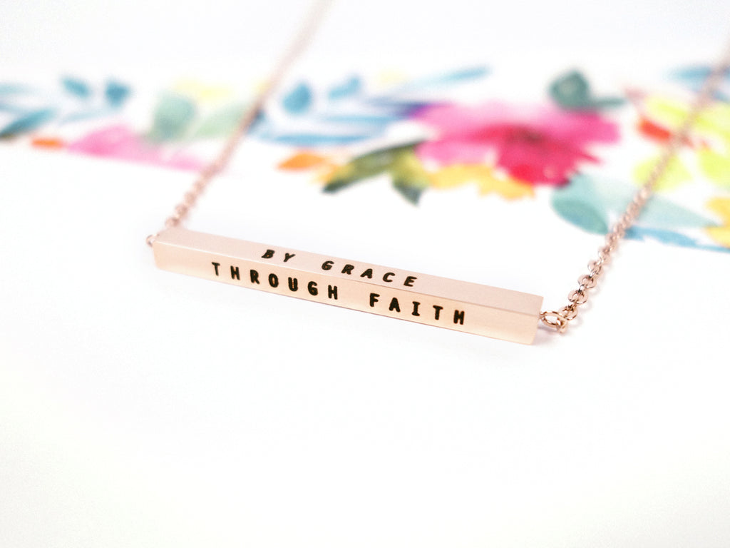 By Grace through Faith Customised Bar Necklace in Rose Gold