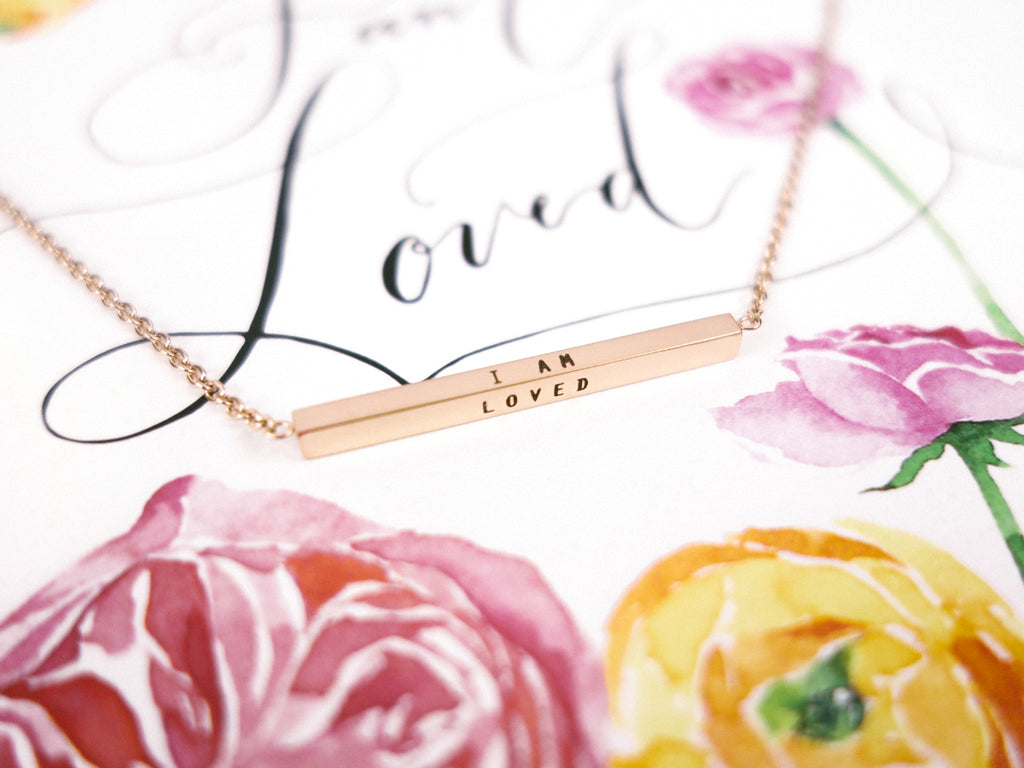I Am Loved Bar Pendant Necklace in Rose Gold