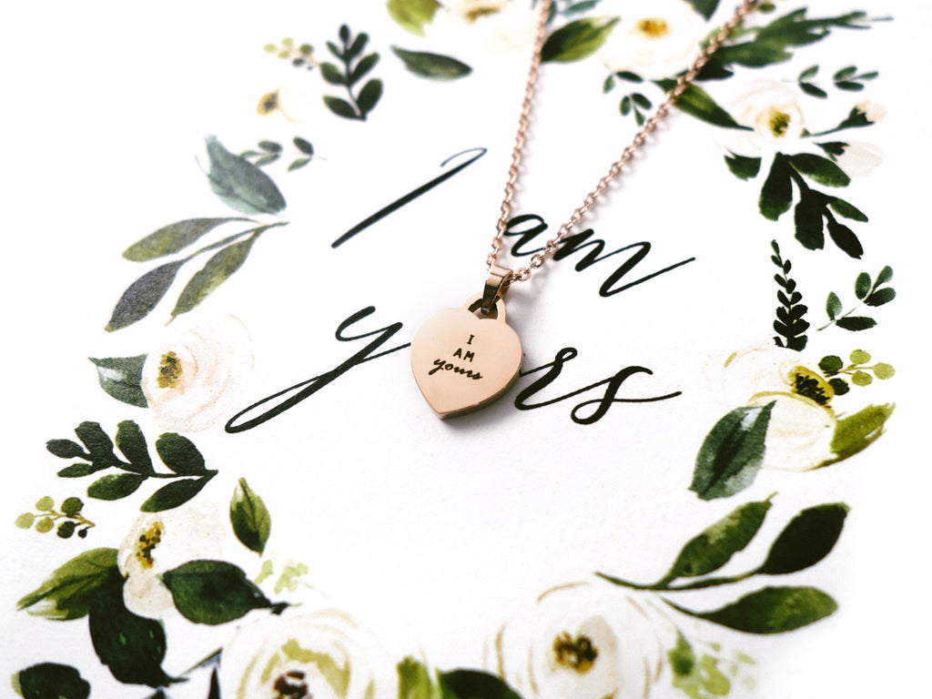 I Am Yours Customised Heart Pendant Necklace in Rose Gold