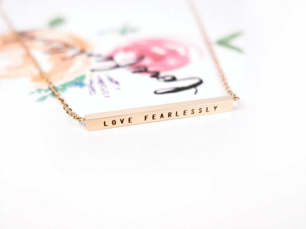 j co foundry love fearlessly rose gold bar pendant necklace postcard verse jillian saturdaymovement calligraphy flowers watercolour