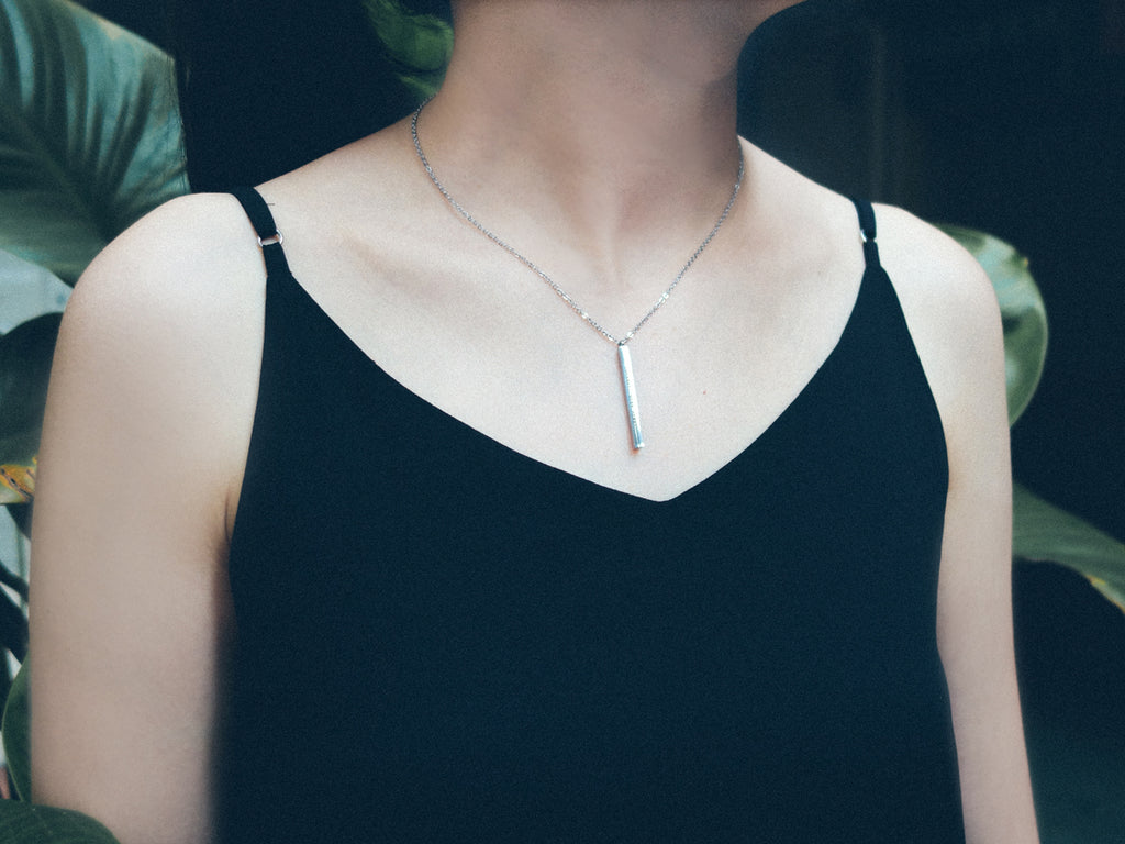 Courage, Dear Heart Customised Vertical Bar Necklace in Silver