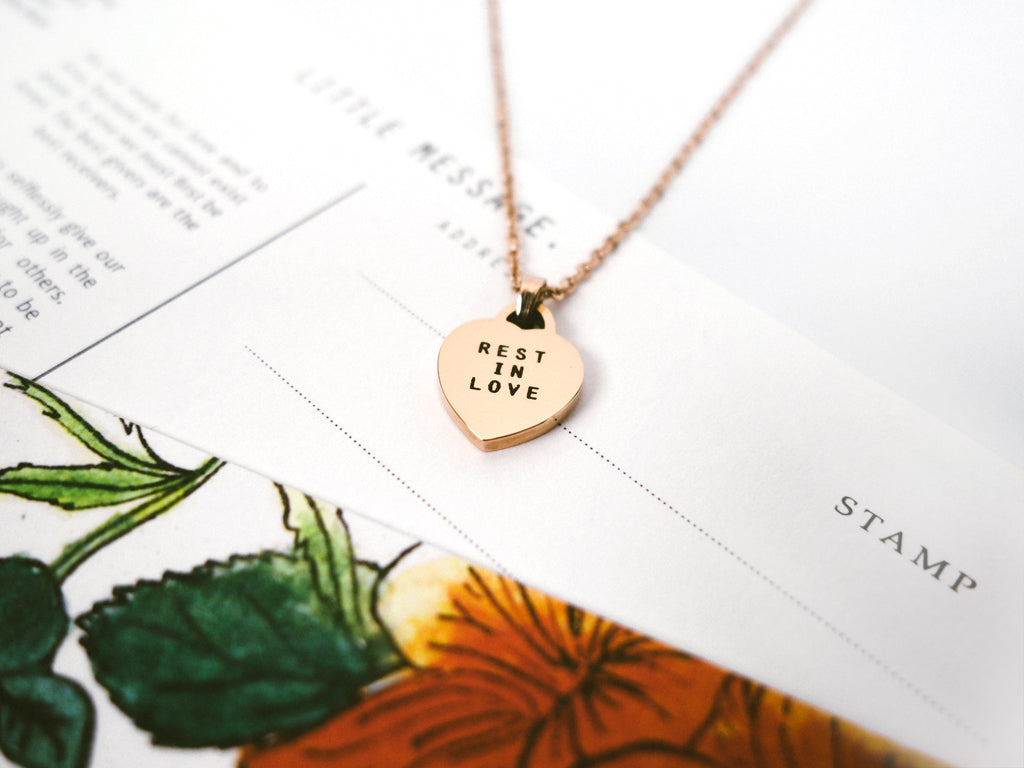 j co foundry rest in love rose gold heart pendant necklace postcard verse elizabeth giftaword singapore collaboration jcollab gift present jewellery