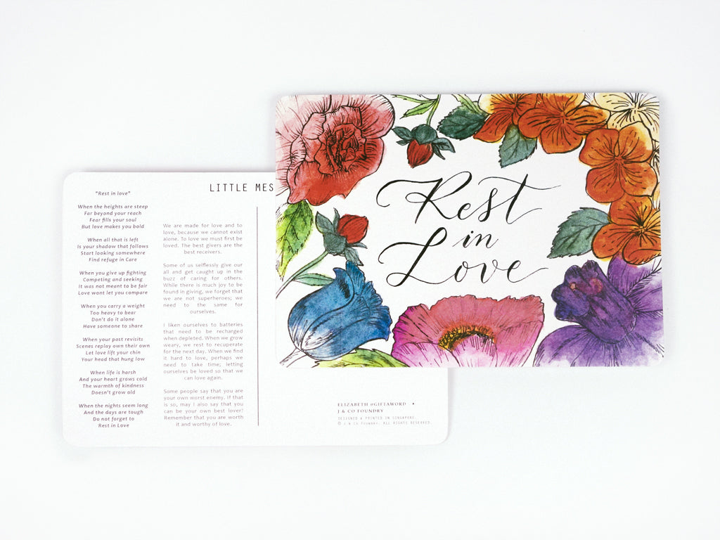 j co foundry rest in love rose gold necklace postcard verse elizabeth giftaword calligraphy flowers watercolour