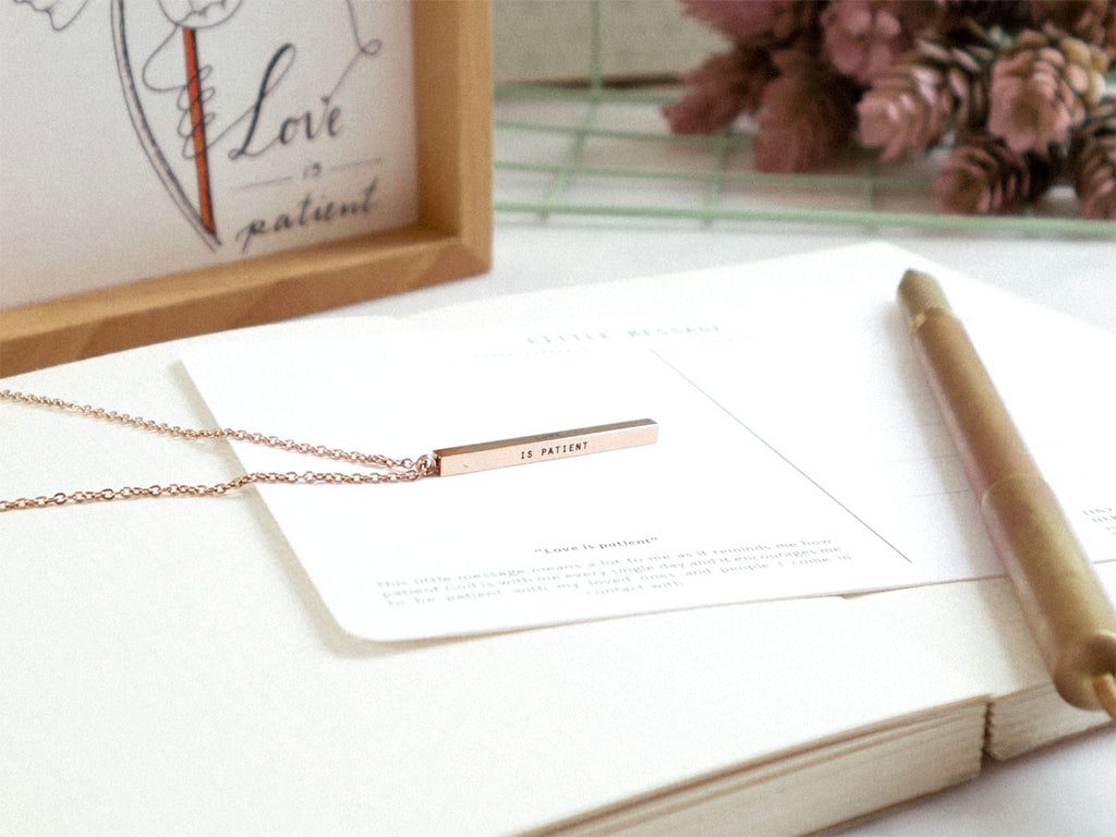 Love is Patient Customised vertical bar necklace in rose gold