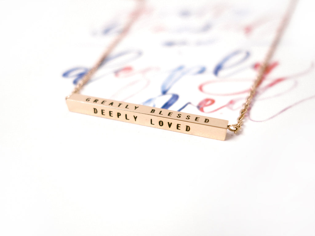 Greatly Blessed Deeply Loved Customised Bar Pendant Necklace in Rose Gold