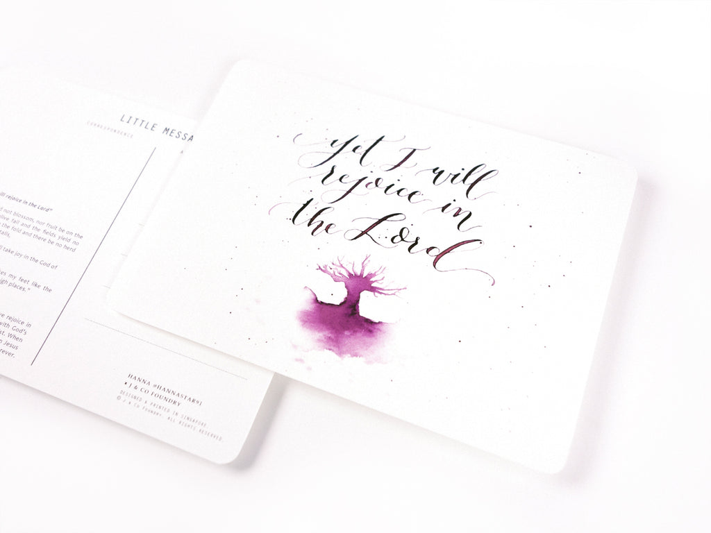 J & Co Foundry Postcard with Calligraphy Artwork by Hanna Han Byoul Kim