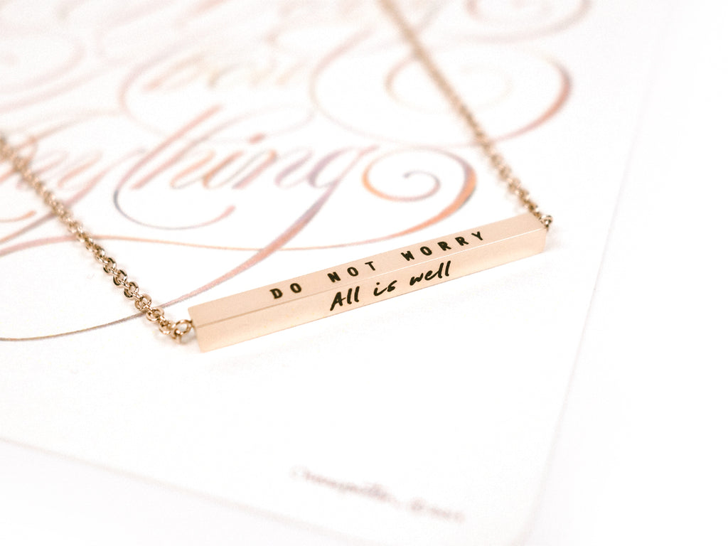 Do Not Worry, All Is Well | Bar Necklace