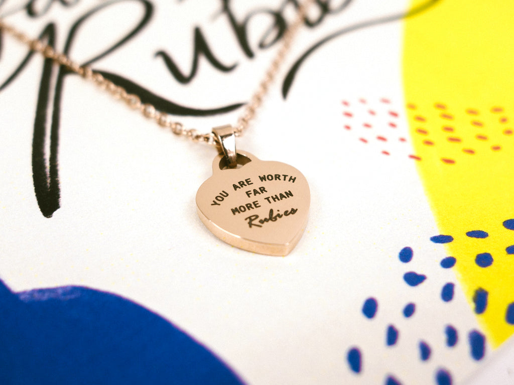 You are worth far more than Rubies | Heart Necklace