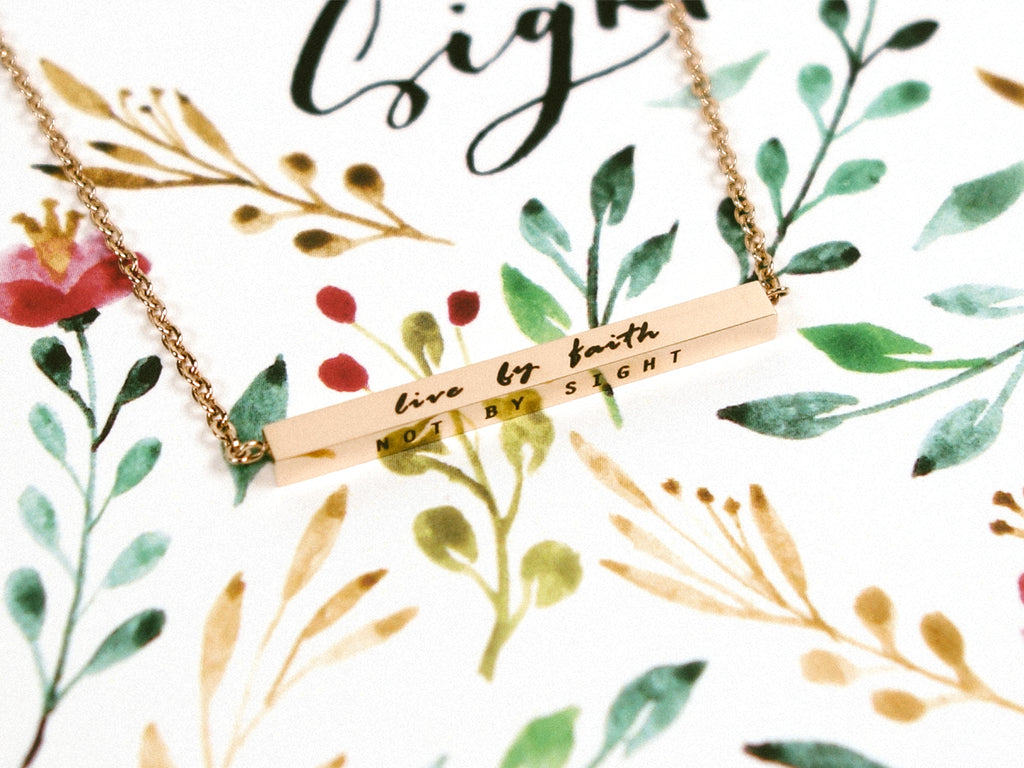 Live By Faith, Not By Sight | Bar Necklace